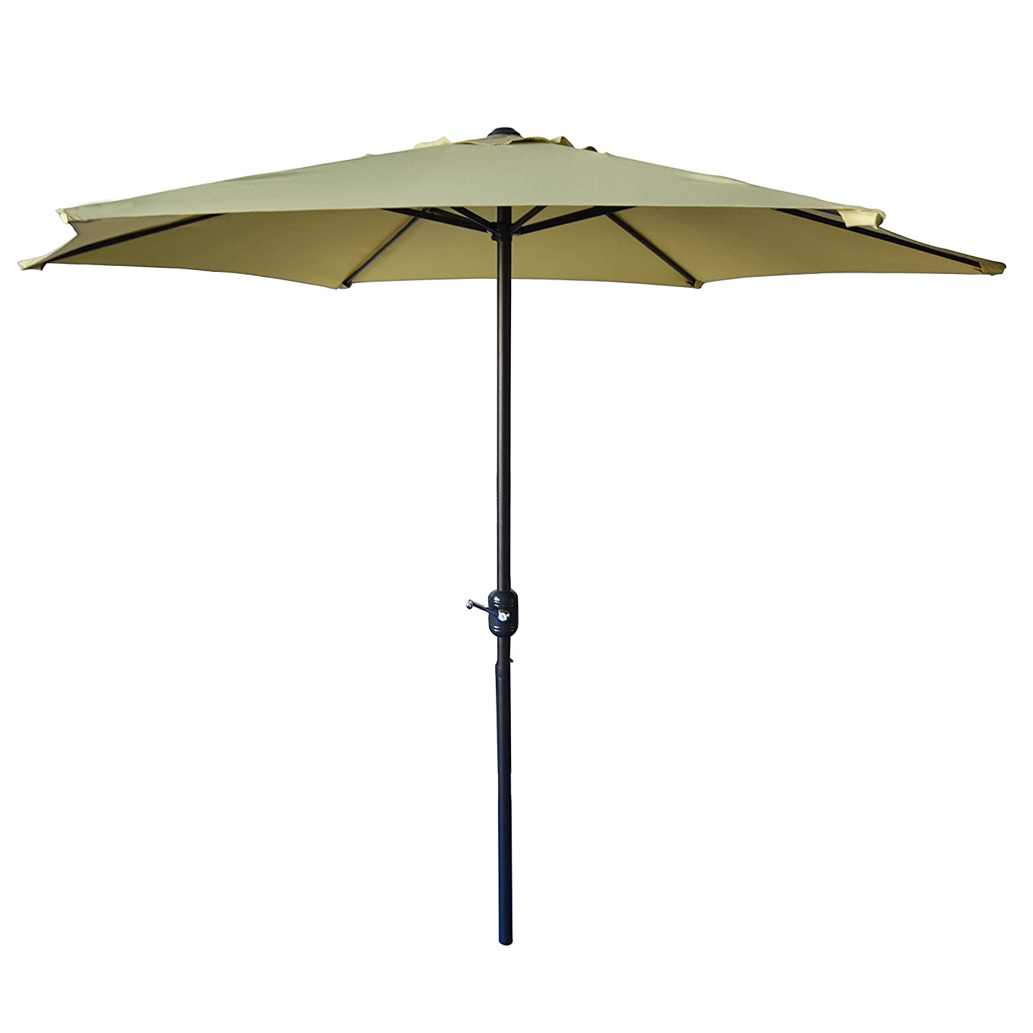 ShadeRest 9 ft Outdoor Aluminum Patio Market Umbrella with Crank, 6 Ribs, 100% Polyester, Light Green B0722XBQY2