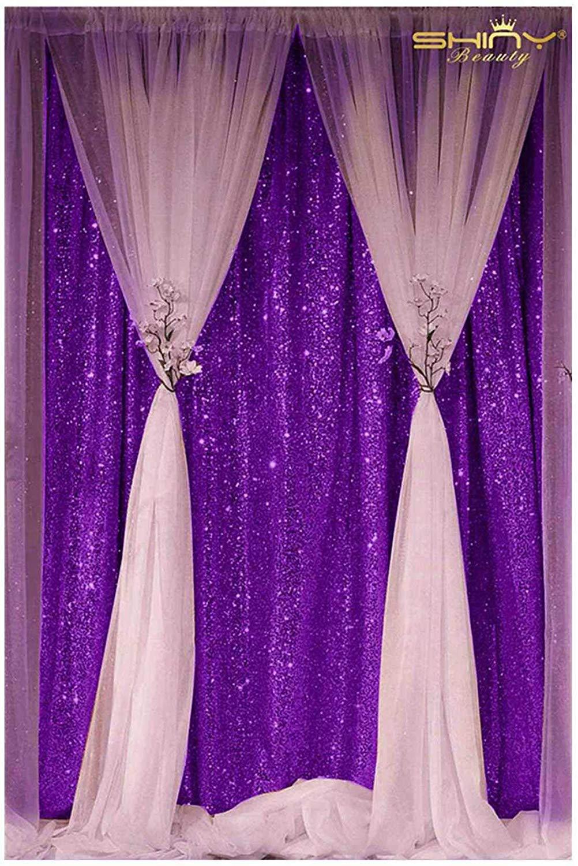 DUOBAO Sequin Backdrop Curtain 4FTx6FT Purple Glitter Background Purple Sequin Photo Backdrop Prom Party Decor~0613 by DUOBAO