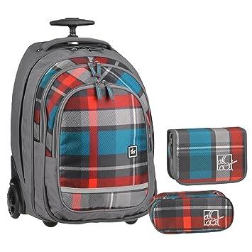 Juego de mochila con mochila con ruedas + Estuche + Estuche escolar de graubunt cuadrícula chica Niños: Amazon.es: Oficina y papelería