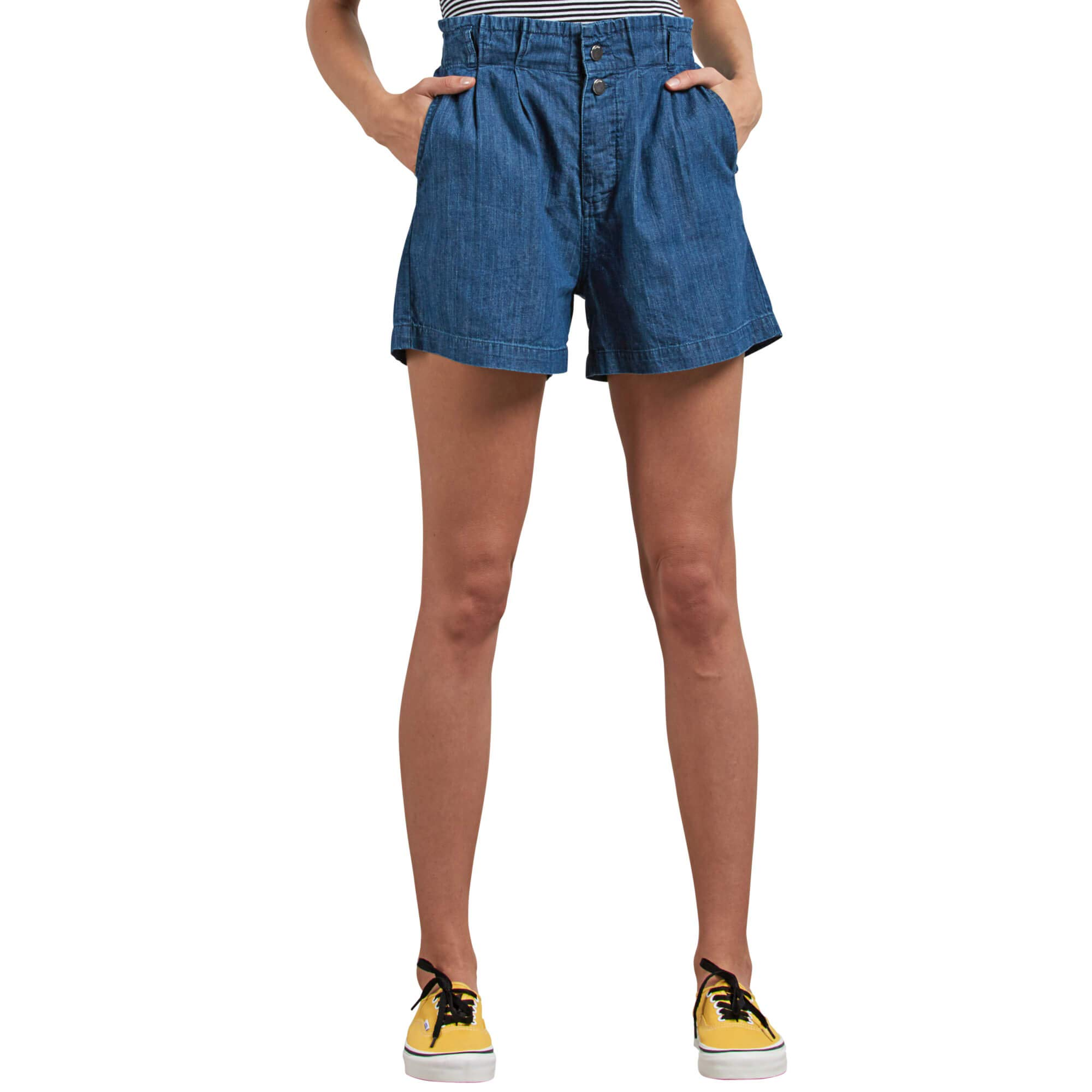 Volcom Junior's Yo Shortie Paper Bag Elastic Waist Short, Flight Blue, Large