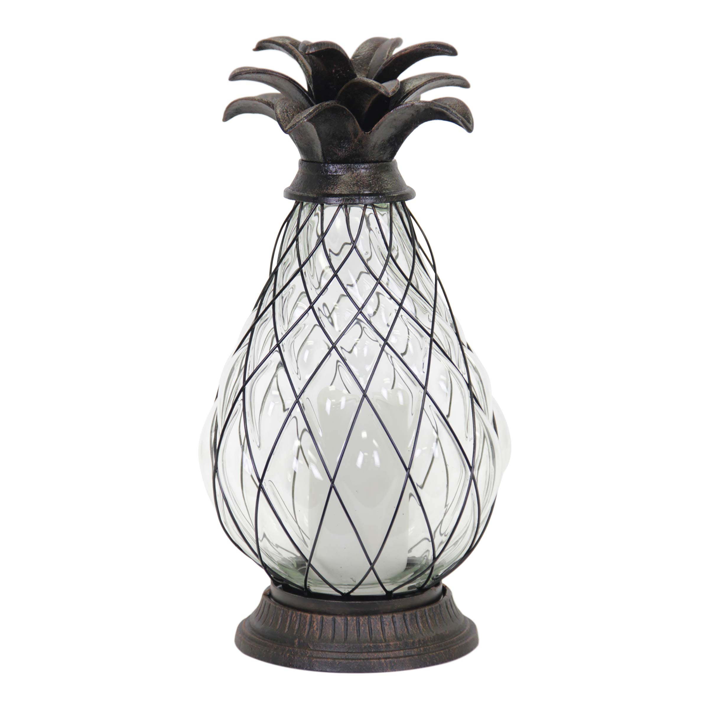 Exhart Pineapple Cast Iron Lantern Battery Powered 12 LED Firefly Lantern - Outdoor Pineapple Décor Tabletop Glass Lantern in Metal Cage - Pineapple LED Metal Lantern - Clear Glass 6'' L x6 W x17 H by Exhart