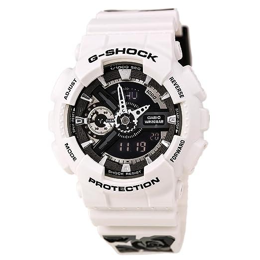 Casio GMAS110F-7A Unisex Ana-Digi G-shock esfera negra blanco correa de resina buceo reloj hora mundial: CASIO: Amazon.es: Relojes
