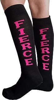 product image for Chrissy's Socks Women's FIERCE Knee High Socks Black/Neon Pink
