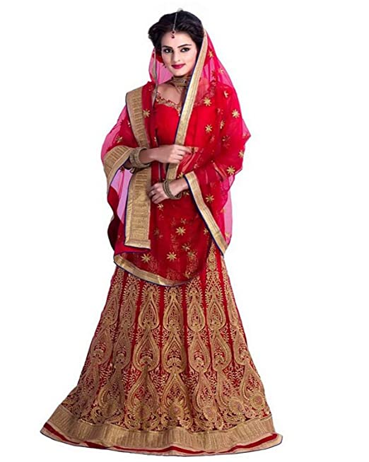 bcfb0a7a0 Siddeshwary Fab Women s Women Heavy Embroidered  Lace work Lehenga Choli ( Red)  Amazon.in  Clothing   Accessories