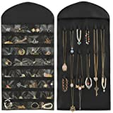 Hippih 32 Pockets 18 Hook and Loops Jewelry Scroll Closet Hanging Non-Woven Organizer Holder,Black