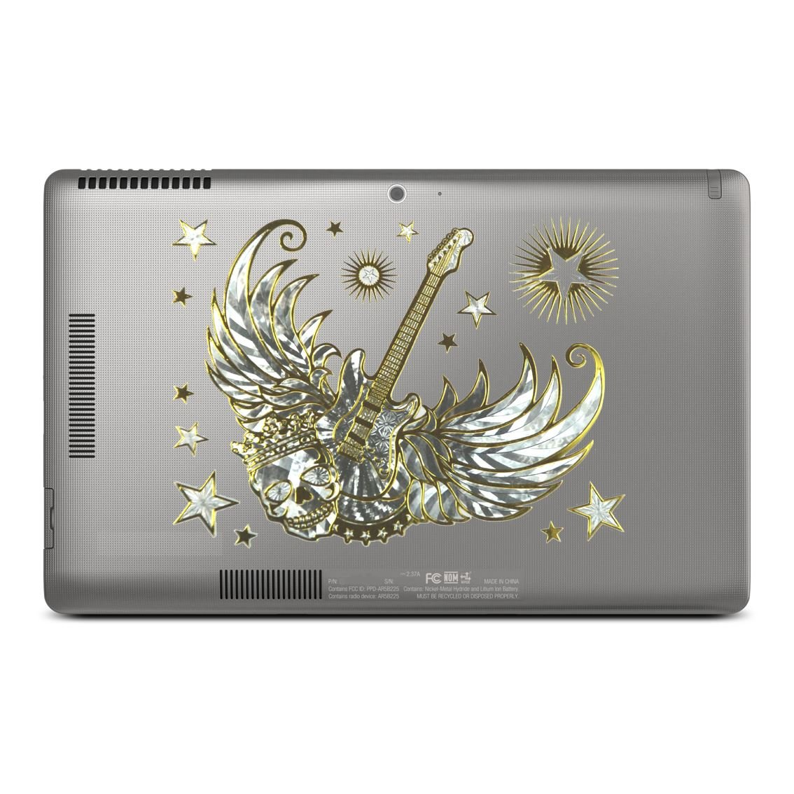LT230 CrazyGadget/® Universal Self Adhesive Laptop Skins Stickers Decals Aluminium Foil Based Stickers Silver Glitter Dragon