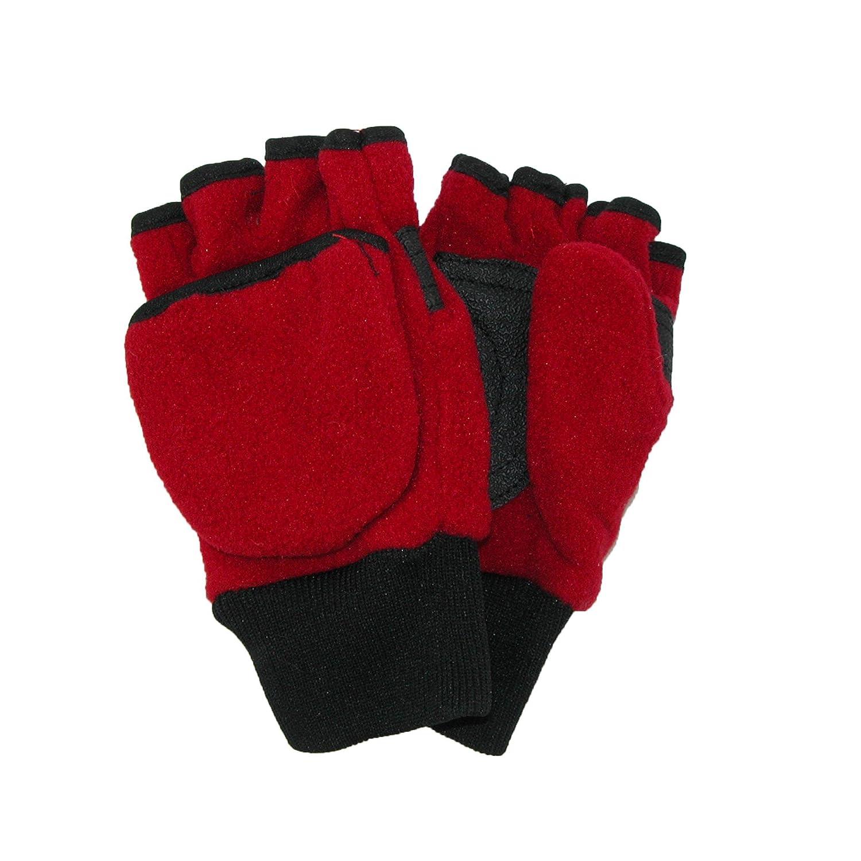 CTM® Kids' 4-7 Fleece Flip Top Fingerless Gloves and Mitten, Navy GS-BG308-NAV