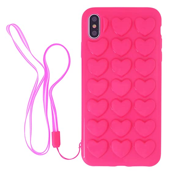 Iphone Xs Max Case For Women Dmaos Cute Girly 3d Bubble Heart Cover With Crossbody Strap Soft Rubber Premium Kawaii For Iphone 10s Max 6 5 Inch