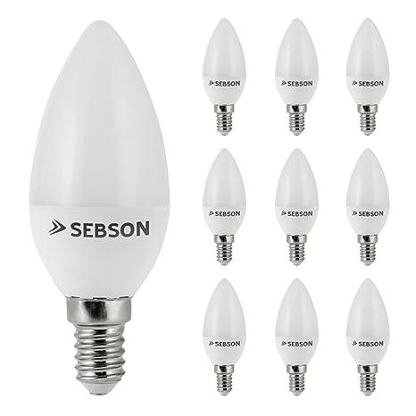 SEBSON® 10x RA95 + flicker free, E14 Bombilla LED 6W, Calido Blanca 2700K