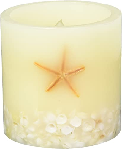 Home Impressions Seastar Flameless LED Candle with Timer That Work with 2 D Batteries, Real Seastar and Inlayed Shell, Yellow