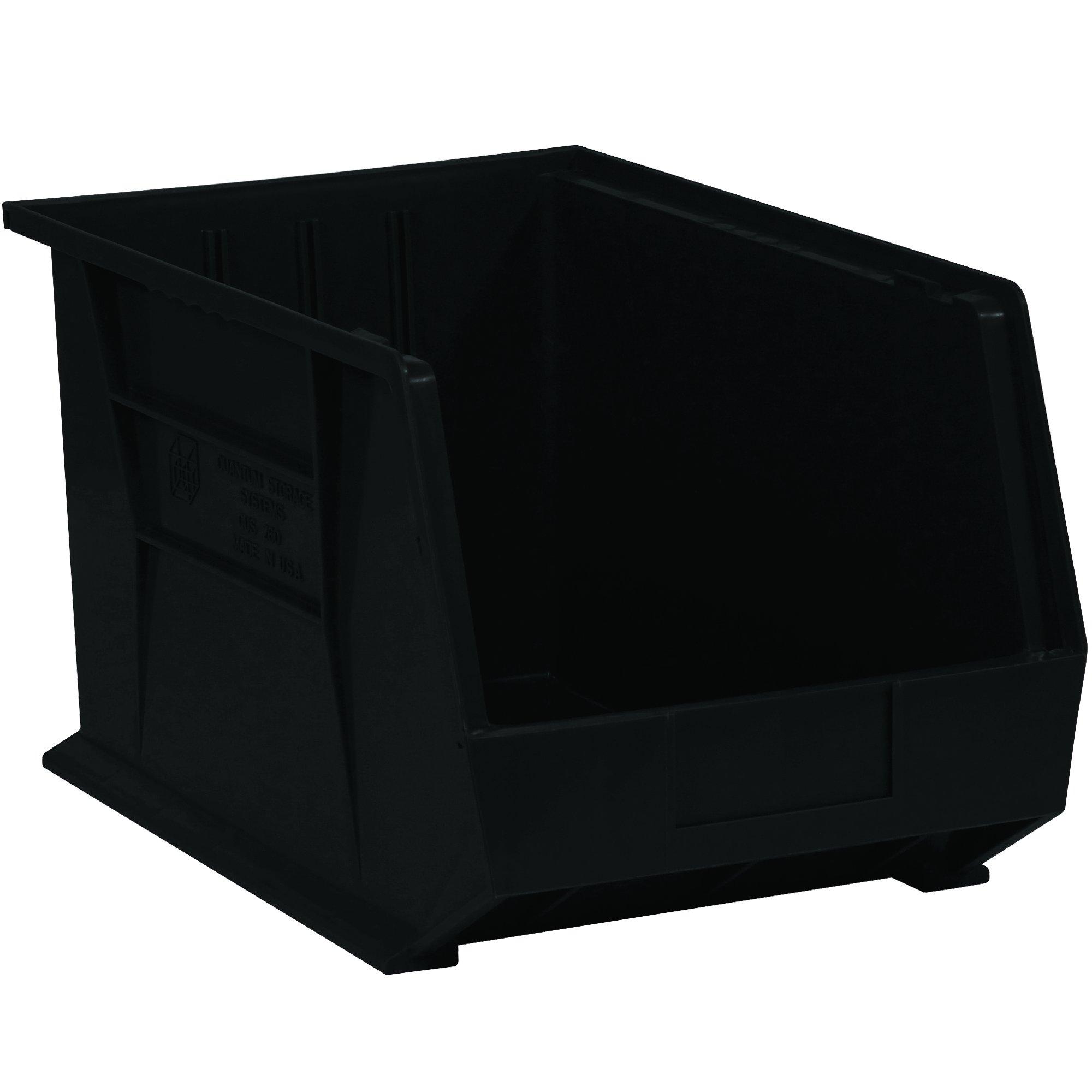 Aviditi BINP1611K Plastic Stack and Hang Bin Boxes, 16'' x 11'' x 8'', Black (Pack of 4)