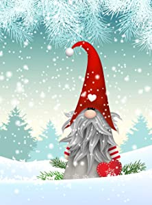 Christmas Tomte in Winter Garden Yard Flag Banner House Home Decor 12 x 18 inch, Forest Snow Small Mini Decorative Double Sided Welcome Flags for Holiday Wedding Party Outdoor Outside