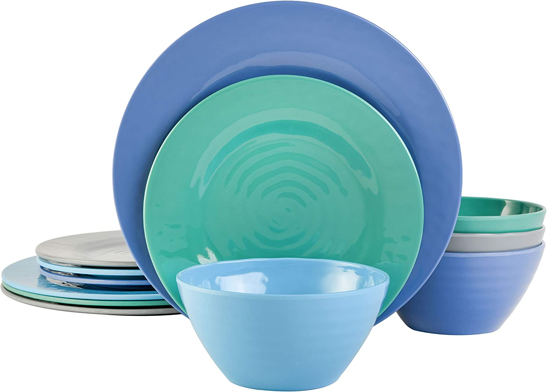 Gibson Home Brist Pastels 12 Piece Melamine Dinnerware Set Assorted Colors
