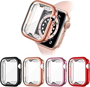 Liwin 4-Pack Case with Screen Protector Compatible with Apple Watch SE/Series 6/Series 5/Series 4 40mm, Soft TPU Clear Full Coverage Bumper Protective Case Cover Compatible with iWatch Series SE/6/5/4