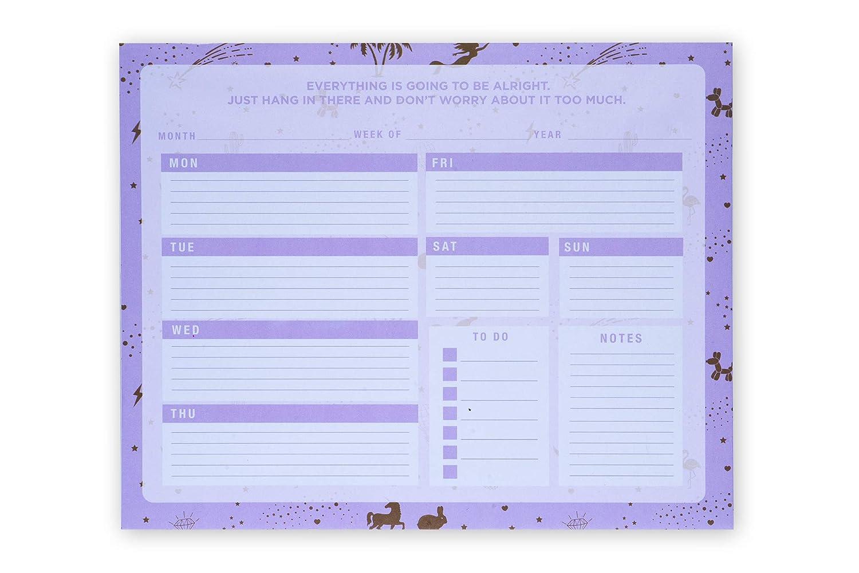 Planner Settimanale con Calendario Perpetuo Settimanale da Scrivania o da Tavolo per Organizzare Impegni gold icons Check List per Segnare le Priorit/à e Agenda Tri-Coastal Design