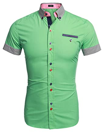 253e8b24930b5 Coofandy Camisa Casual Manga Corta Verano Para Hombre  Amazon.es  Ropa y  accesorios