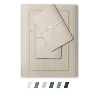 Feather & Stitch 500 Thread Count 100% Cotton Sheet Set, Stripe Sheets, Soft Sateen Weave,Deep Pockets,Hotel Collection,Luxury Bedding Super Sale 100% Cotton (Queen Beige)