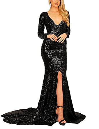 Amazon.com: Fitty Lell Womens Sequins Mermaid Evening Dresses 2018 with Long Sleeves V Neck Prom Party Gown: Clothing