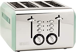 Haden COTSWOLD 4-Slice, Wide Slot Retro Toaster with Browning Control, Cancel, and Defrost Settings in Light Sage Green