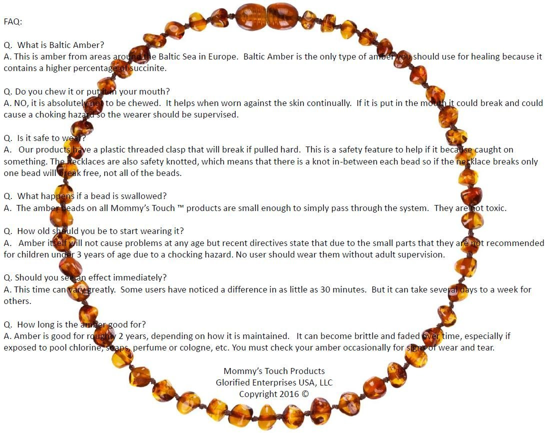 Amazon.com : Mommy's Touch 100% Natural Amber Teething Necklace (Multi-Color)  - Anti-Inflammatory & Teething Pain Reducing Properties Unisex Necklace  With ...
