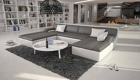 große wohn-landschaft mit kunstleder bezug grau / weiß 335x235 cm ... - Wohnzimmer Grau Sofa