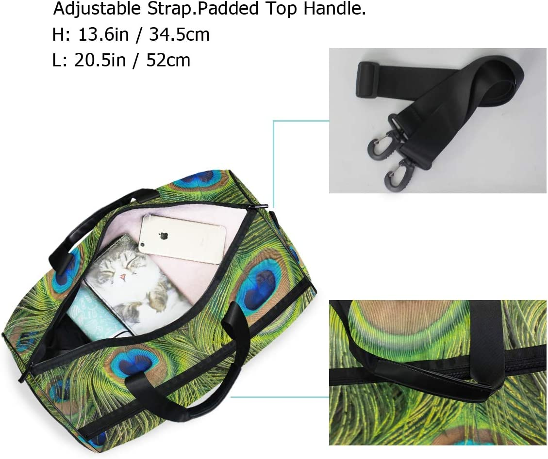 Feathers Of Peacock Sports Gym Bag with Shoes Compartment Travel Duffel Bag for Men and Women