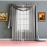 """Warm Home Designs Extra Long Silver Sheer Window Scarf. All Valance Scarves are 56 X 216 Inches in Size & are Great as Kitchen, Bathroom or Bedroom Window Toppers. Color: Silver 216"""""""