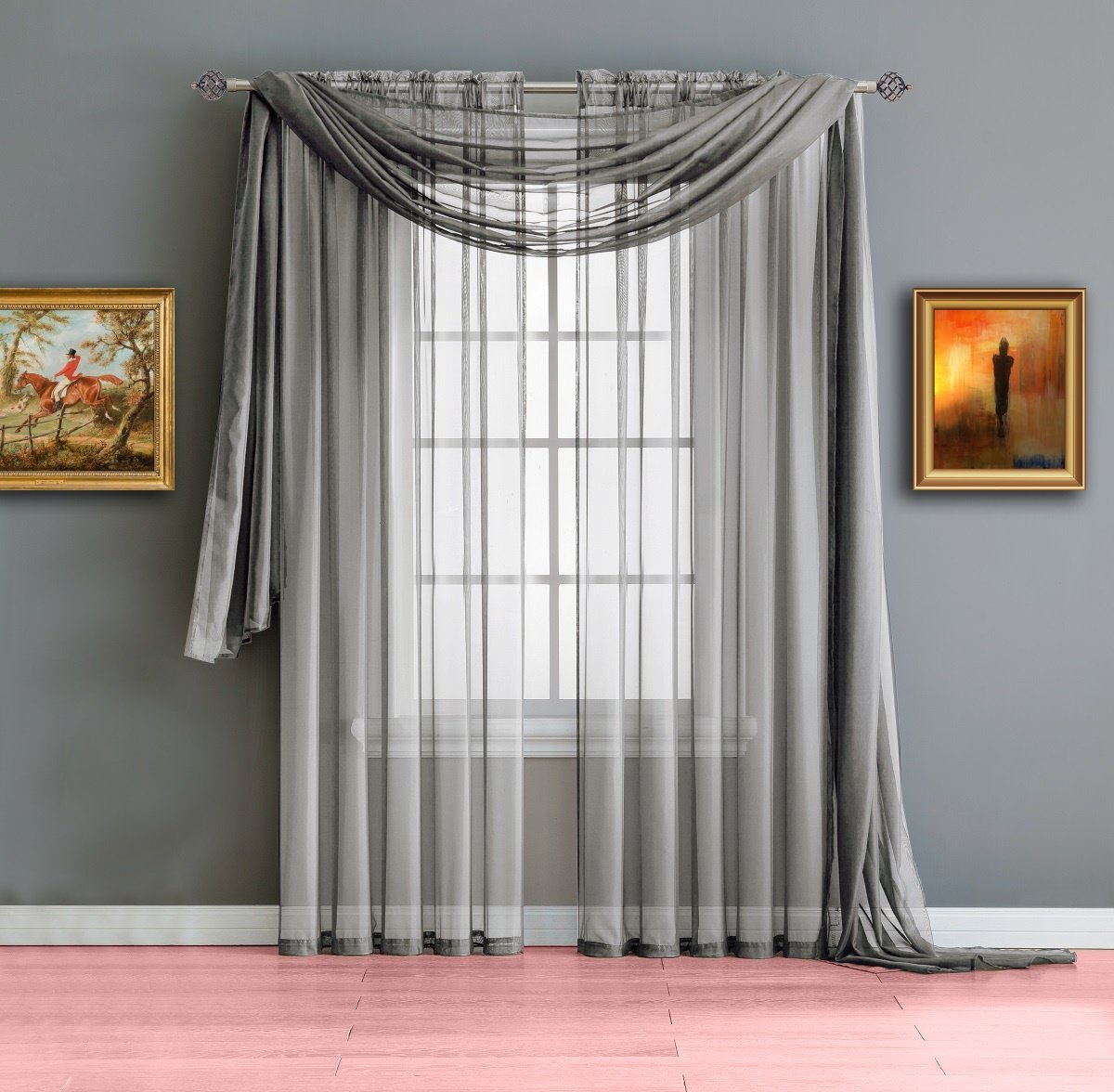 Warm Home Designs Short Dark Silver Sheer Window Curtains