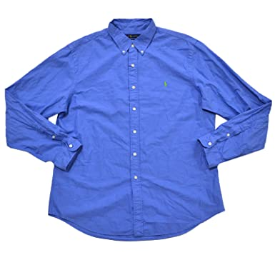 43411280 Polo Ralph Lauren Mens Slim Fit Oxford Shirt (XX-Large, Heather Island Blue