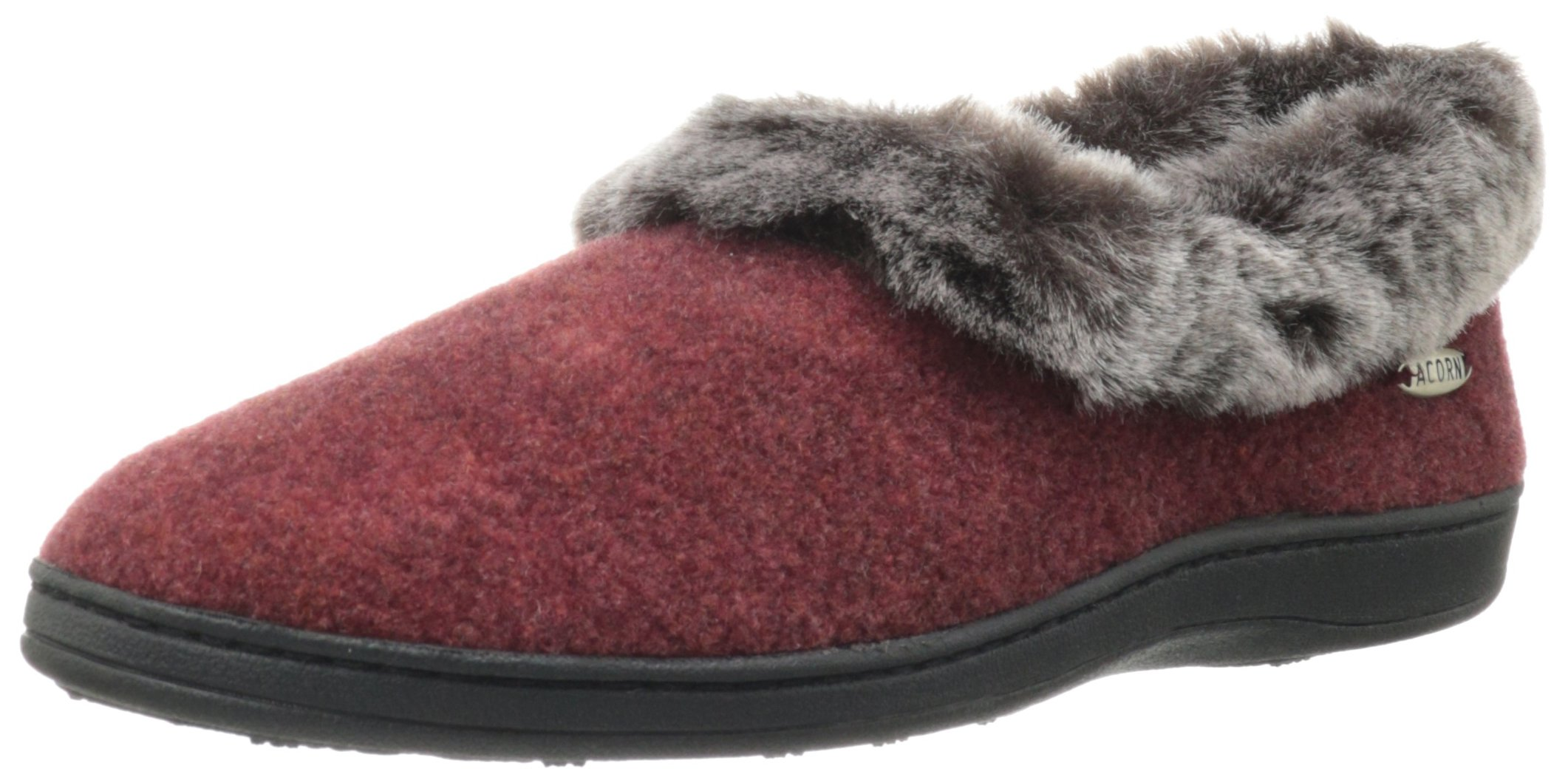 Acorn Women's Faux Chinchilla Collar Slipper,Crackleberry,Large/8-9 B(M) US