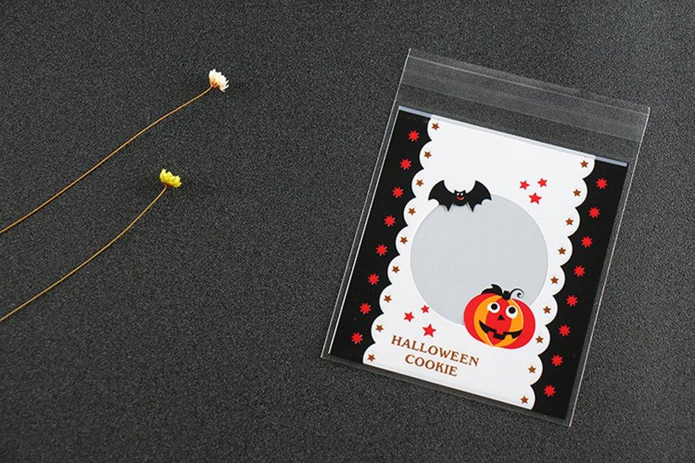 10 x 13 CM Bolsas autoadhesivas para caramelos de Halloween de Cosanter STYLE 1 pl/ástico con dise/ño de calabaza bolsas de celof/án; 100 unidades