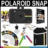 Polaroid - Fotocamera istantanea Snap (Nero) + 20 fogli di carta zincata 2x3 + custodia in neoprene + cornici fotografiche + pacchetto accessori