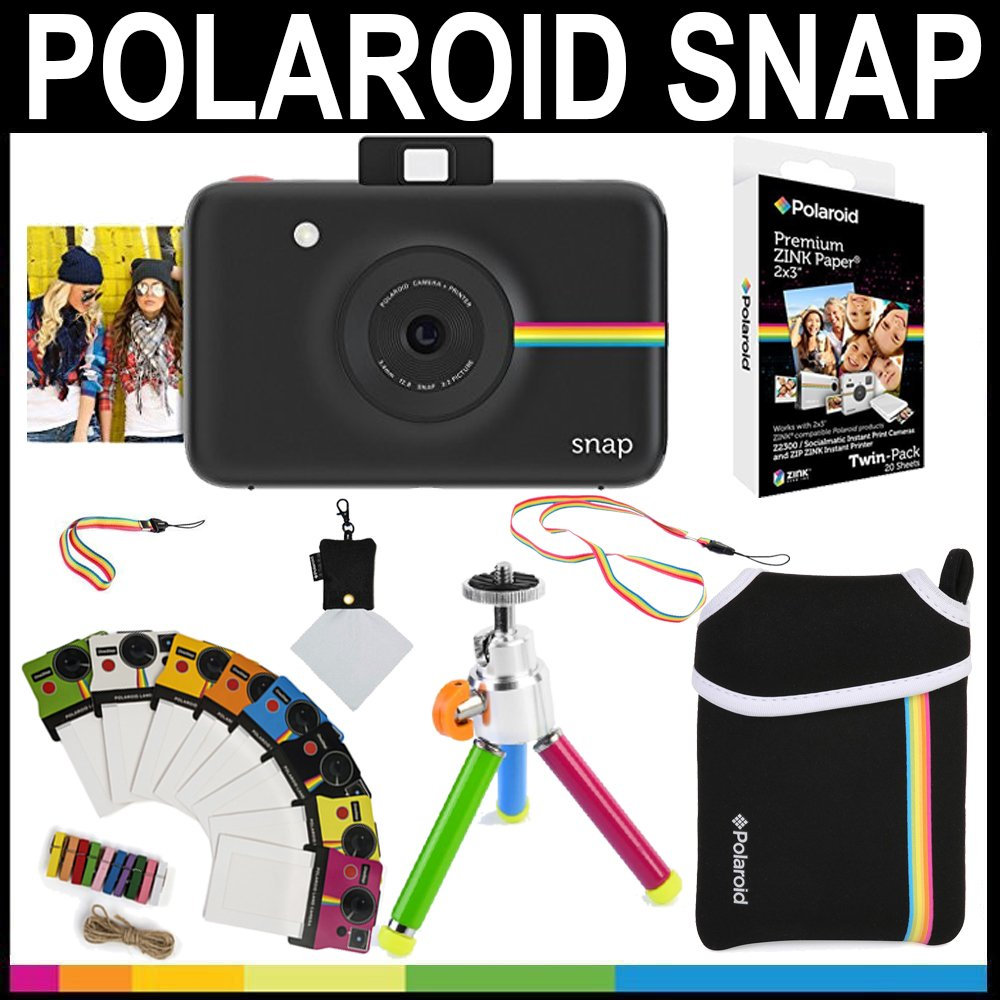 Polaroid Snap Instant Camera (Black) + 2x3 Zink Paper (20 Pack) + Neoprene Pouch + Photo Frames + Accessory Bundle by Polaroid