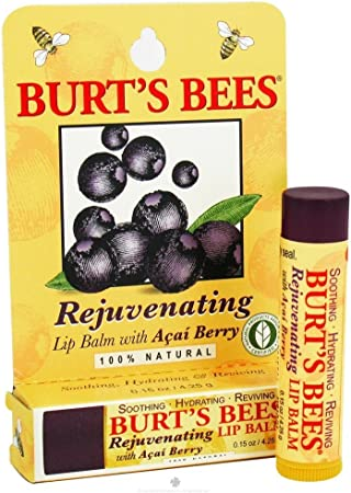 Burt s Bees Lip Balm, Rejuvenating, with Acai Berry, 0.15 Oz 4.25 G Pack of 4
