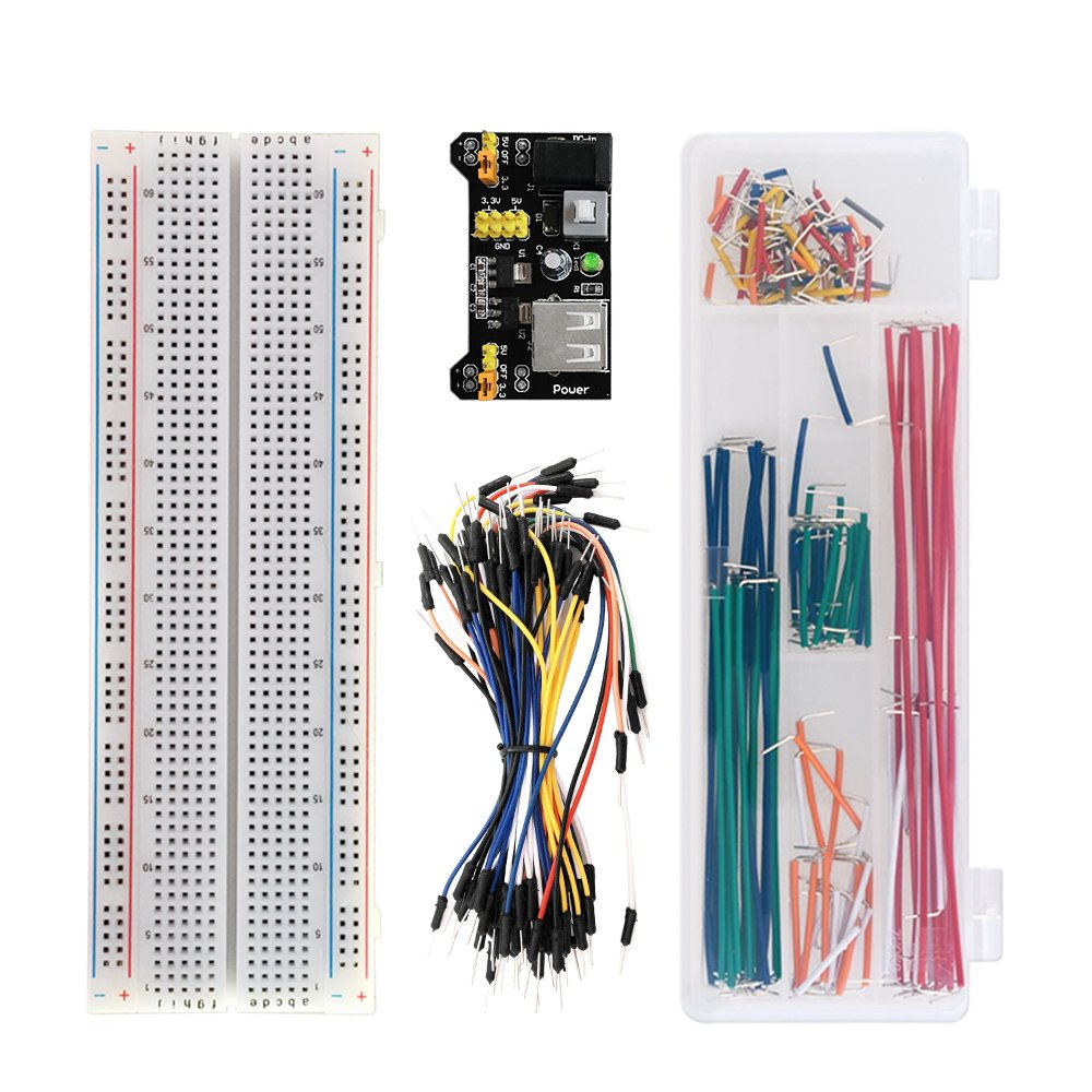 KEYESTUDIO Arduino Project Kit/Breadboard 830+Breadboard Power Supply+65 Pcs Jumper Wires+140 Pcs Pre-formed Jumper Wire Kit