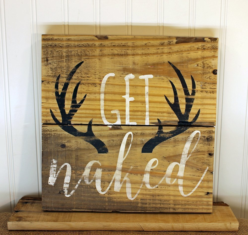 Amazon.com: Buck Naked Quote Reclaimed Wood Pallet Sign Home Decor ...