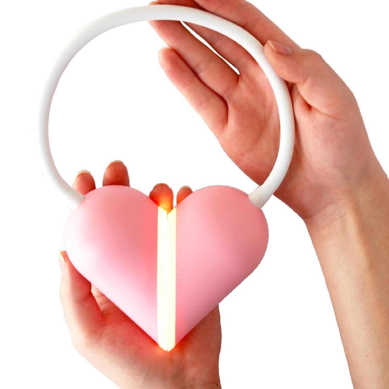 WONFAST® Flexible Gooseneck Rechargeable LED Book Lights Love Heart Foldable Eye Care Touch Sensor Table Desk Reading Lamp for Valentine's Birthday Christmas Gift (Pink/warm white light)
