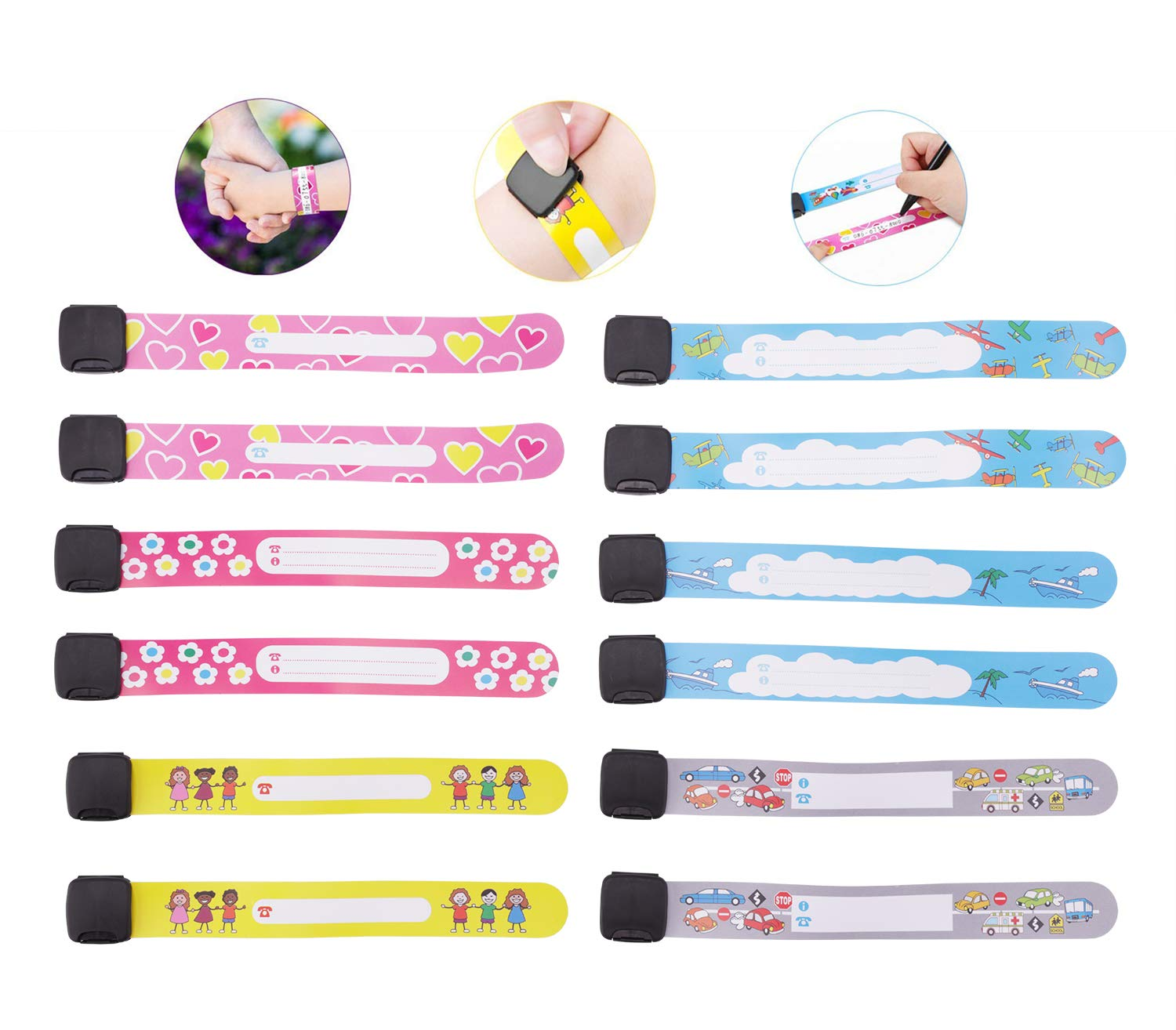 Child Safety ID Wristband, 12pcs Reusable&Waterproof Safety ID Bracelets for Kids Anti-Lost Child Travel ID Bands for Children Field Trip&Outdoor Activity