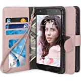 Moto X4 Case, TAURI [Stand Feature] [PU Leather] Protective Wallet Case [Wrist Strap] Flip Cover For Motorola Moto X4 - Rose Gold