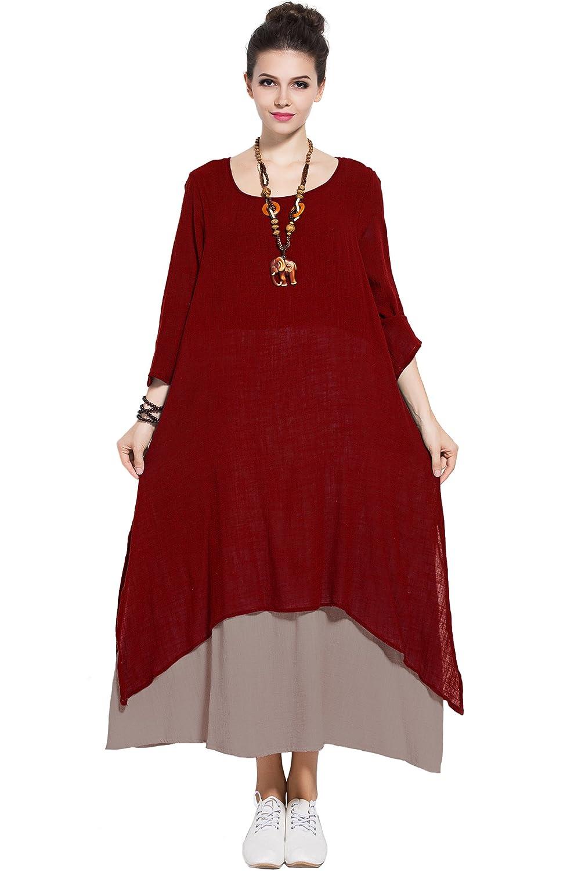 Anysize Spring Summer Fake Two Piece Linen Cotton Dress Plus Size ...