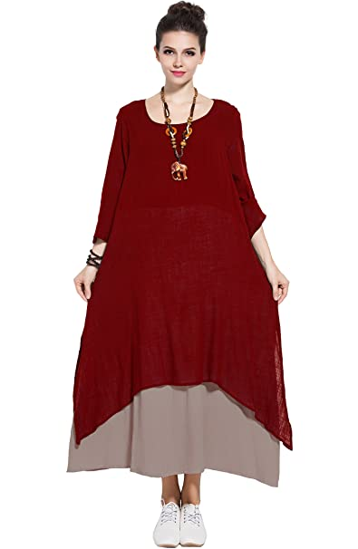 d381ec2023e Anysize Spring Summer Fake Two Piece Linen Cotton Dress Plus Size Dress  Y82  Amazon.ca  Clothing   Accessories