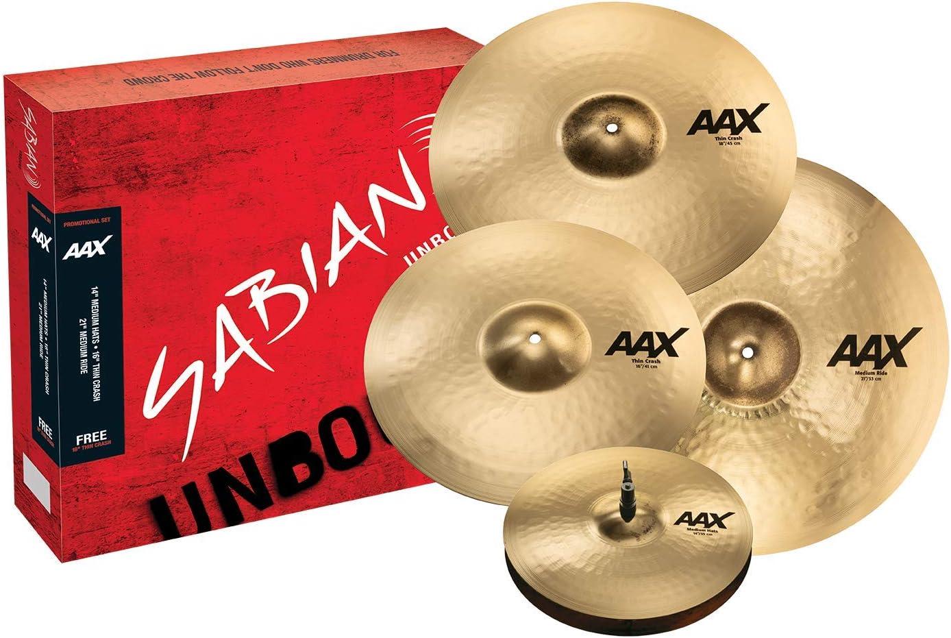 "Sabian Cymbal Free 18"" Thin Crash, AAX Promotional Set Brilliant Finish"