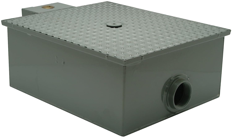 B0012LG0SM Zurn GT2701-20-3NH Lo-Profile Steel Grease Interceptor 20 GPM, 3 Inch No Hub Inlet/Outlet,Grey 717QT52Ni0L._SL1500_
