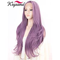 K'ryssma Natural Wavy Purple Lace Front Wig Long Synthetic Wigs for Women Purple Wig Half Hand Tied 24 Inches