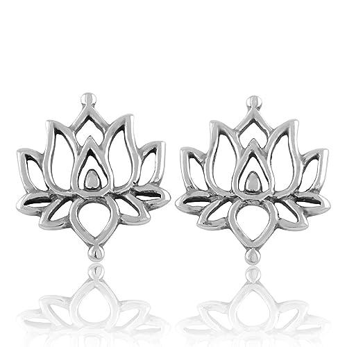 Amazoncom Sterling Silver Lotus Flower Stud Earrings 15mm Jewelry