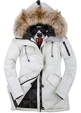 TIGER FORCE Thickened Parka Women Winter Jacket with Real Fur Hood Mountain  Ski Waterproof Rain Outdoors 3369e5342