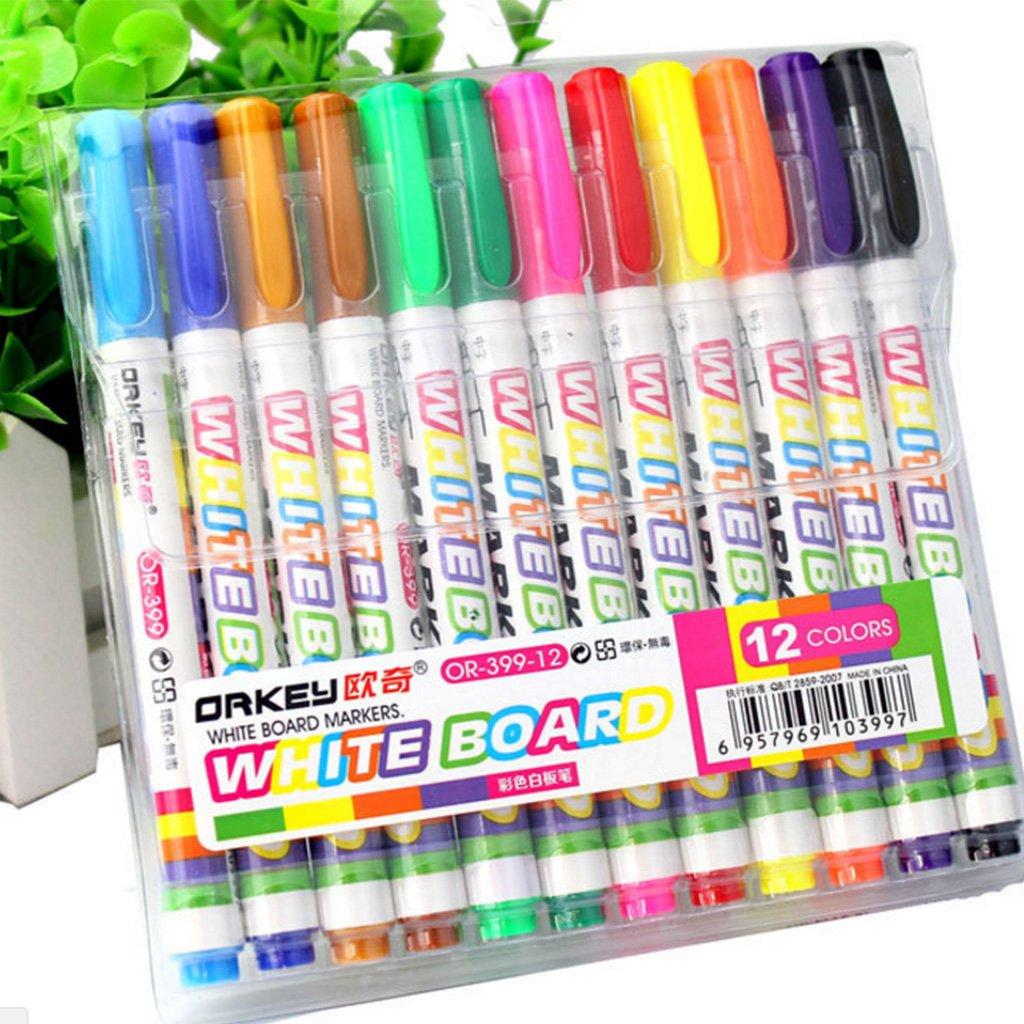 Autone 12 Colors Whiteboard Marker Non Toxic Dry Erase Mark Sign Fine Nib Set Supply