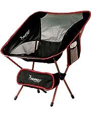 Syourself Silla de camping plegable portátil, ligera, compacta, cómoda, transpirable, para playa, viaje, pesada, ideal para senderismo, picnic, actividades al aire libre y deportes con bolsa de transporte