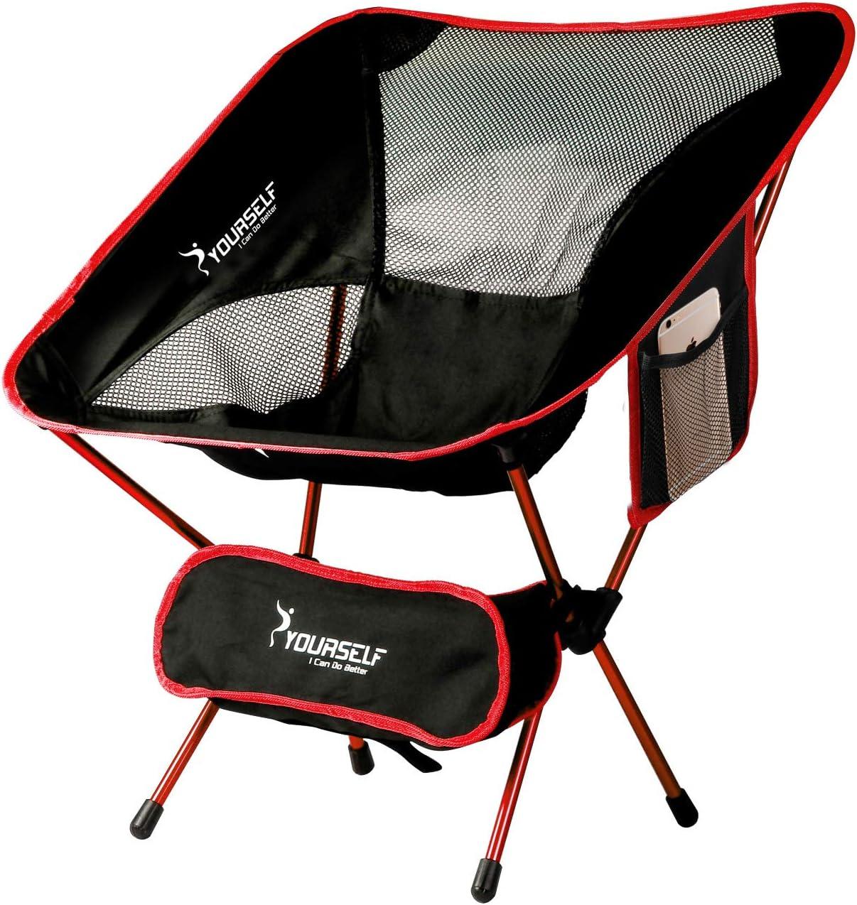 Syourself Silla de Camping Plegable portátil, Ligera, compacta, cómoda, Transpirable, para Playa, para Senderismo, Picnic, Actividades al Aire Libre y ...