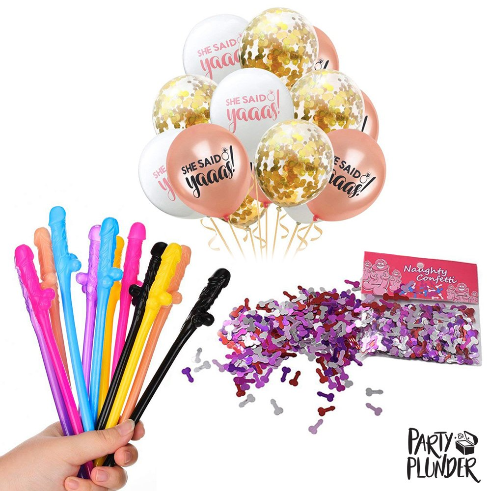 Bachelorette Party Straws by Party Plunder - Girls Night Out Party Kit with She Said Yes Balloons, Funny Naughty Confetti - Perfect Decorations for Bachelorette Party and Bridal Shower Hen Party by Party Plunder